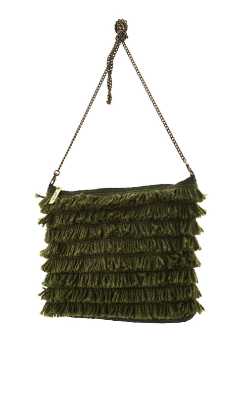 Gazel - Clutch with fringes Green
