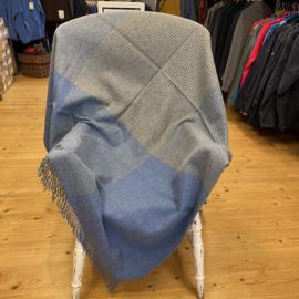 John Hanly Plaid Merinowol blauw grijs geblokt