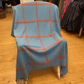 John Hanly Plaid Merinowol blauw/oranje strepen
