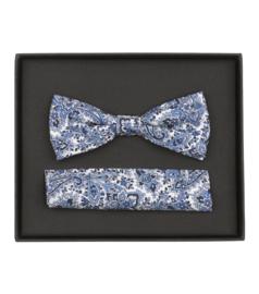 Giftset Vlinderdas en Pochet Blauw Dessin 103409000-100