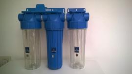 """Regenwaterfilter 3 staps, 3/4"""" aansluitingen."""