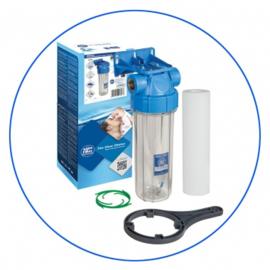 """Filterhuis 10 """" transparant met 3/4"""" aansluitingen met sedimentfilter 5 micron."""