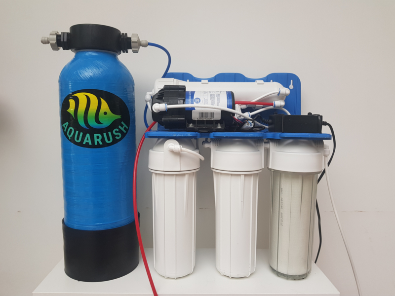 Osmosetoestel Rush Osmo 100 TRIO met boosterpomp + Harstank 5 Liter Mixbed