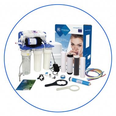 Zelfbouw huishoudelijk 6 staps osmosesysteem met opslagtank en boosterpomp en mineralentoevoeging