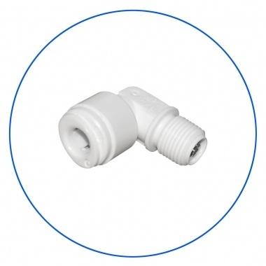 "Raccord rapide osmoseur à 90° tuyau 1/4"" - Filetage mâle 1/8"" avec clapet anti-retour"