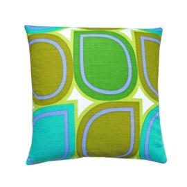 Kussenhoes grafische print groen blauw
