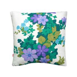 Kussenhoes bloemen paars lila groen retro vintage