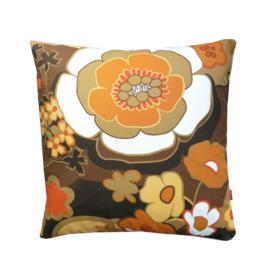 Kussenhoes retro bloemen okergeel bruin