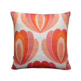 Kussenhoes oranje rood ecru grafisch patroon