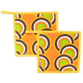 Pannenlappen oranje groen retro vintage