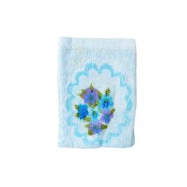 Washandje vintage retro blauw paars bloemen