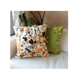 Kussenhoes retro bloemen in oranje