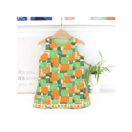 Retro jurkje oranje groen maat 92