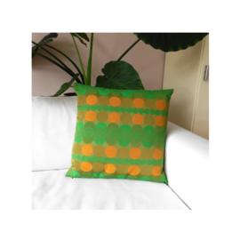 Kussenhoes retro groen oranje cirkels