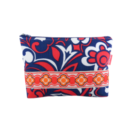 Make-up tasje seventies blauw rood ecru