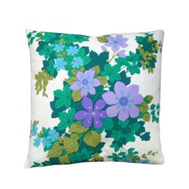 Kussenhoes ecru bloemen paars lila groen retro vintage