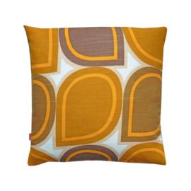 Kussenhoes grafische print oranje bruin