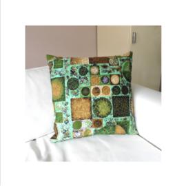 Kussenhoes groen vierkantjes retro vintage