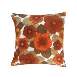 Kussenhoes retro oranje bloemen