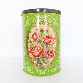 Voorraadblik XL groen met rozen