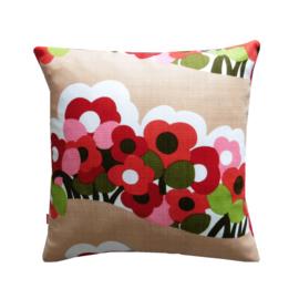 Kussenhoes roze en rode bloemen retro vintage