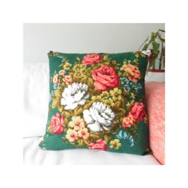 Kussenhoes retro bloemen jaren 70 groen