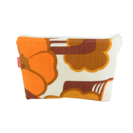 Make-up tasje retro oranje bloemen