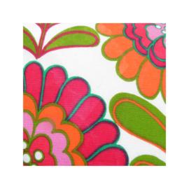 Kussenhoes roze oranje bloemen retro vintage