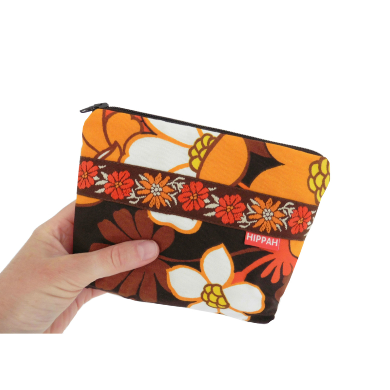 Make-up tasje small seventies oranje bruin retro vintage