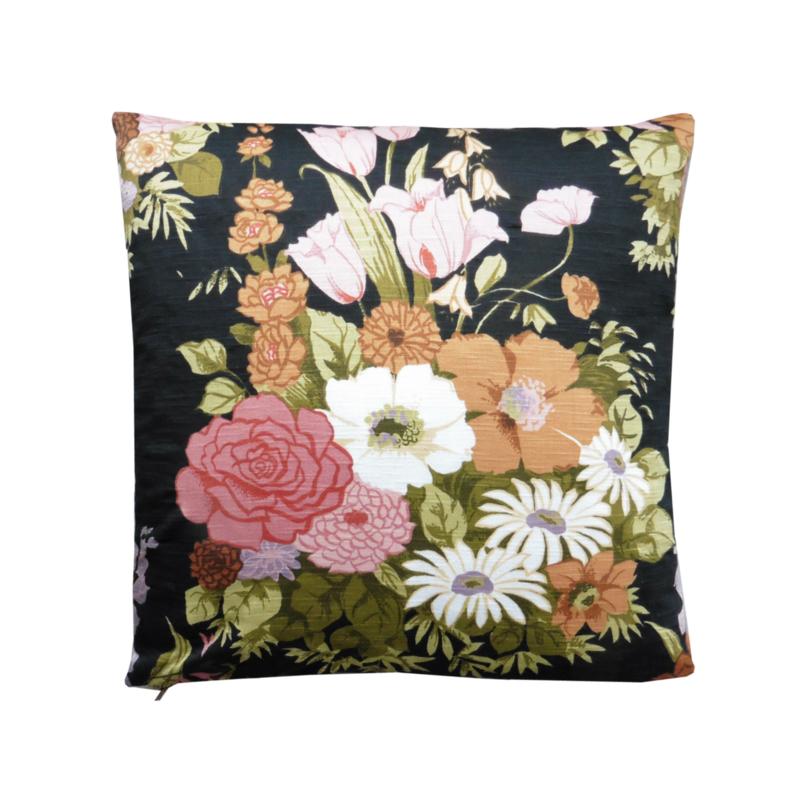 Kussenhoes bloemen bruin okergeel retro vintage