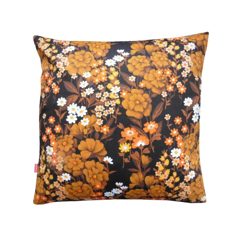 Kussenhoes retro vintage donkerbruin oranje bloemen