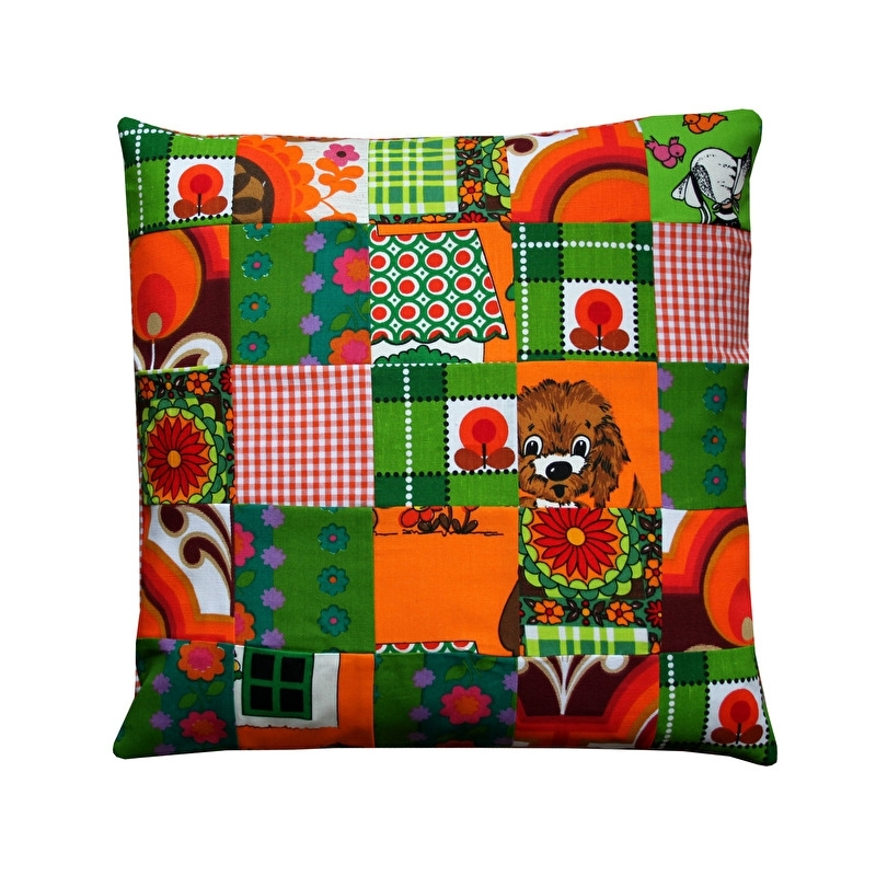 Kussenhoes patchwork groen oranje