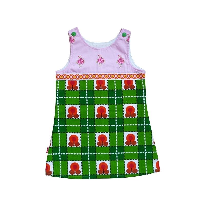 Groen retro jurkje met bloemen mt 104