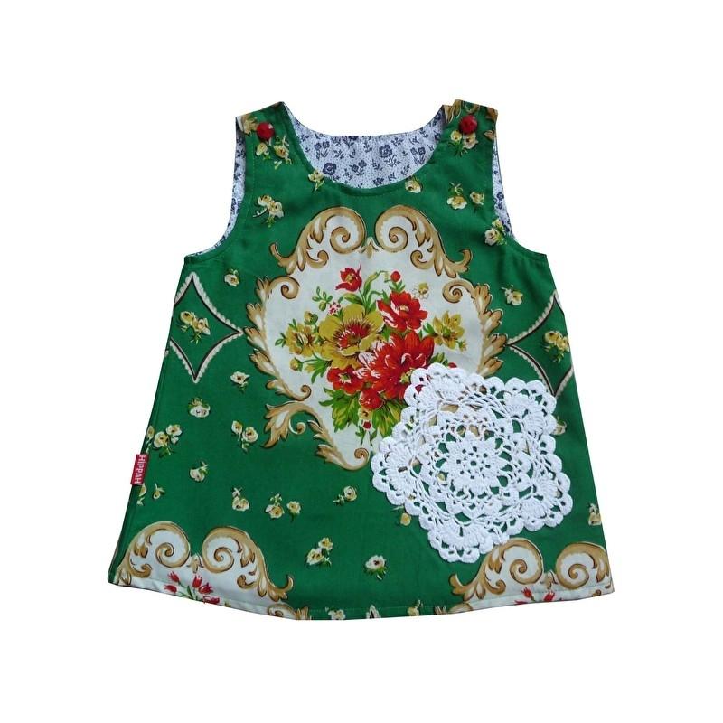 Retro jurkje met gehaakt oma kleedje