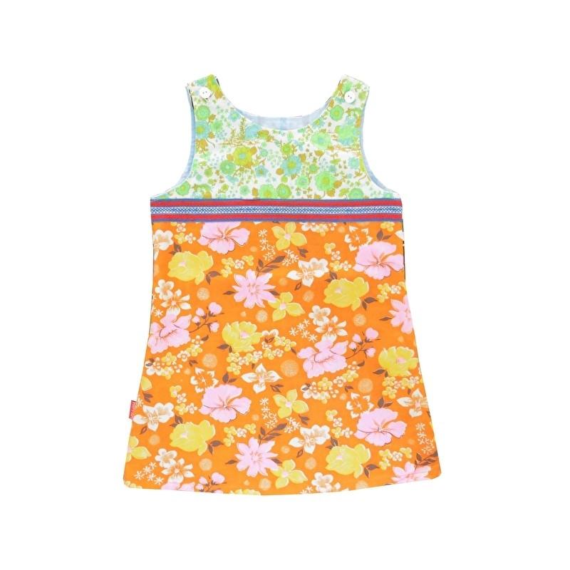 Retro jurkje met bloemen maat 104