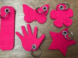 Vilten sleutelhanger fuchsia roze