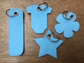 Vilten sleutelhanger blauw