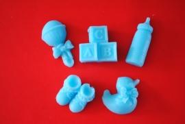 Set van 5 baby zeepjes blauw