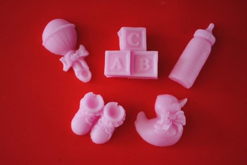 Set van 5 baby zeepjes roze