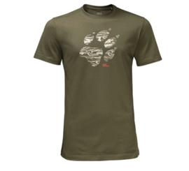 Jack Wolfskin Laguna Paw Burnt Olive  heren t-shirt maat M