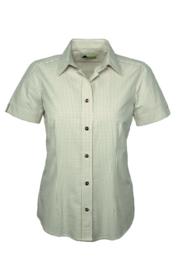 Skogen Seersucker Natur dames blouse met korte mouw