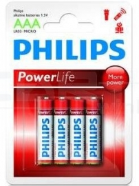 Philips Power Alkaline LR03 AAA Penlite batterijen (4 stuks)