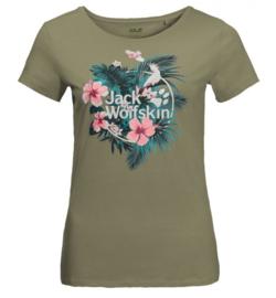 Jack Wolfskin Tropical dames t-shirt khaki maat M