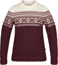 Fjällräven Övik Scandinavian Sweater Dark Garnet wollen damestrui S