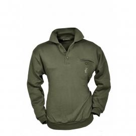 Hubertus sweater met polokraag en wild borduring