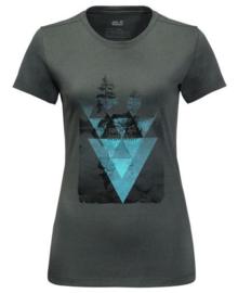 Jack Wolfskin Lake T women dames t-shirt greenish grey maat M