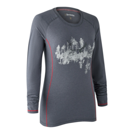 Deerhunter Lady Hazel T-shirt Long Sleeves Iron Melange lange mouw