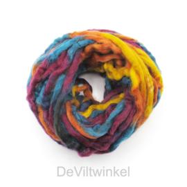 Meerkleurig wol | Oranje-Donkerrood-Petrol-Geel