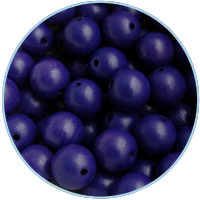 Houten kraal 16mm, Delftsblauw. 5 stuks