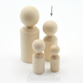 Houten kegelpoppetje - recht - 60x21 mm